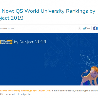 CentraleSupélec in the Top 100 of the 2019 QS rankings by subject